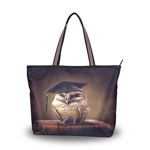 Bigjoke Handtasche für Damen, Motiv: Vogel und Eule, Vintage-Stil, mit Tragegriff, Mehrfarbig - mehrfarbig - Größe: Large