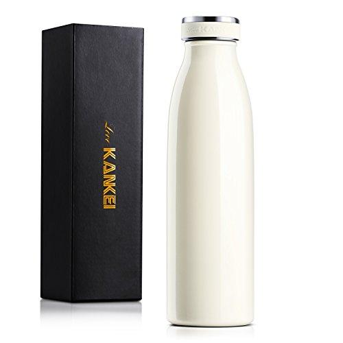 Love-KANKEI Bottiglia Termica - Termos Bottiglia con Doppio Isolamento e Senza BPA - Conserva Il Freddo 24 Ore e Il Caldo 12 Ore - 500ml / 17oz Crema