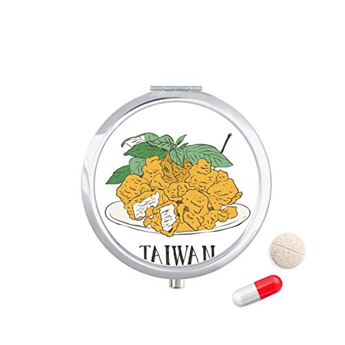 DIYthinker Snake voedsel gebakken kip stukken Travel Pocket Pill Case Medicine Drug Opbergdoos Dispenser Spiegel Gift