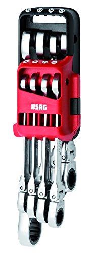 USAG 285 KF/DS8 U02856158 Serie di 8 Chiavi Combinate Snodate a Cricchetto