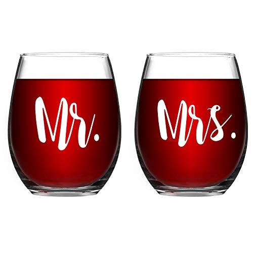 Lighsele Juego de 2 copas vino tinto con grabado 'Mr' y 'Mrs' 350 ml | Vasos sin mango, vasos cristal forma vientre blanco para bebidas frías, regalo padres, bodas, compromisos