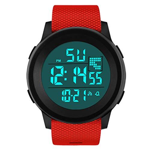 Dorical wasserdichte Sportuhr für Herren mit PU-Kunststoffband, HONHX Digitale Quarz Armbanduhr, Outdoor Mode Sport LED Armbanduhr mit Countdown Stoppuhr Kalender Alarm für Männer(Rot-3)