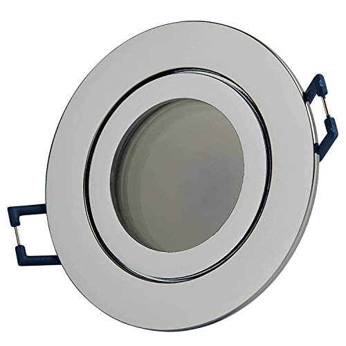 LED Einbaustrahler IP44 rund Chrom 6,5 Watt kaltweiß flach 230V – Einbau-spot dimmbar als Deckenleuchte und Deckenstrahler für Feuchtraum Bad Außen Dusche – Strahler 60mm Bohrloch