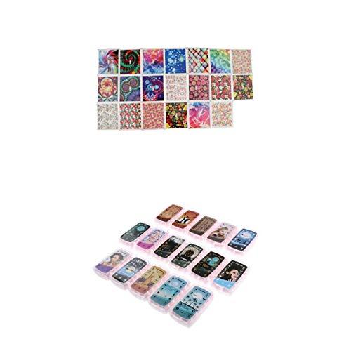 Fenteer 192 pièces Tampons Sceau Racloir Timbre Pochoir Image Designs Mixtes Impression Pour Ongle Manucure avec 20pcs Autocollant à ongles