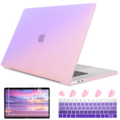 May Chen Laptop Case for MacBook Pro 13' (2019/2018/2017/2016) w/Keyboard Cover and Screen Protector Plastic Hard Shell Case A2159/A1989/A1706/A1708 Touch Bar 3 in 1 - Gradrent Purple