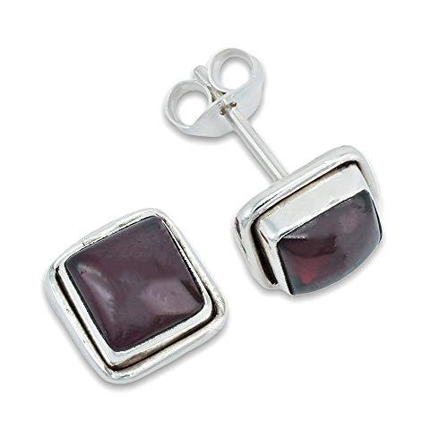 Ohrstecker Ohrringe Silber 925 Sterlingsilber Granat rot Stein (Nr: MOS 22-02)