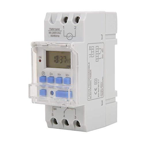 HUAHUA Cicly Timer Relay Interruptor temporizador semanal 12/24 horas temporizador de retransmisión Interruptor On Off LCD de control programable Tiempo del relé de CA 85-265V 16A Tablero industrial