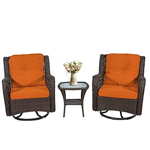 3-Piece Outdoor Patio Furniture Bistro Set Wicker Rattan Bistro Chairs Outdoor Patio Conversation Set Swivel Rocking Chairs with Cushions &Glass Coffee Table (Orange)
