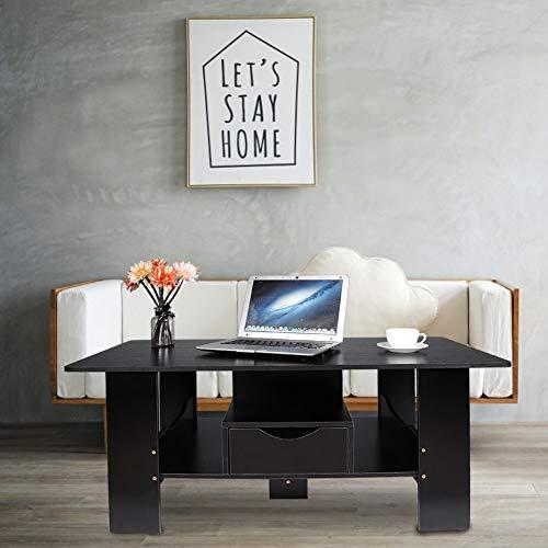 Salontafel voor woonkamer met opbergruimte en lade, salontafel, van hout, rechthoekig, voor woonkamer, slaapkamer, kantoor, 100 x 48 x 41,5 cm, zwart