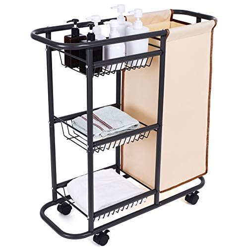 Lucalda Laundry Sorter Cart Movable Bathroom Organizer Gray Laundry Storage Baskets with Heavy Duty Rolling Wheels 3-Tier Storage Shelves with 1 Bag for Clothes