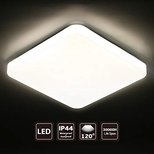 SEEDIQ® LED 15W Lámpara de Techo, Plafón led de Techo Cuadrada,Lámpara Dormitorio de Techo Impermeable,Blanco Frío 5000K,luz para habitación,Cocina,Sala de Estar,baño[eficiencia energética A+]