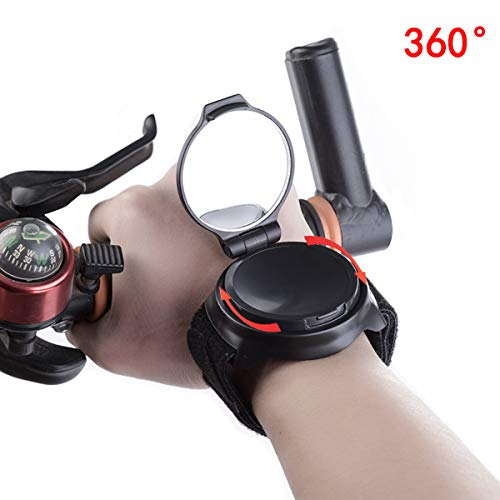 KYUUSI 自転車 アームミラー 360°回転 バックミラー 腕に装着するタイプ 反射鏡 広角 コンパクト 取り付け...