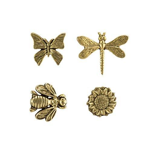 Springtime Metal Push Pins, Gold Finish, Solid Metal, 15 Pieces