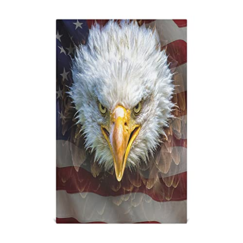 Angry North American Bald Eagle On Kitchen Paper Towel 28x18 Inch Cotton-like Material Very Soft Highly Absorbent Lint-free Kitchen Washcloths Suitable For Kitchen Sink Dining Table Etc