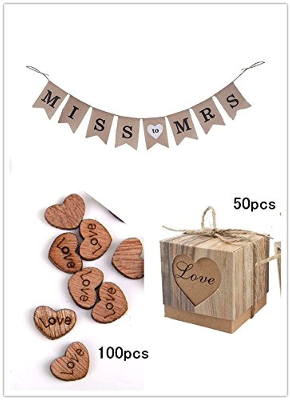 CTY Wedding Pack of 3, Miss to MRS Burlap Banner, Rustic Kraft Boxes and Wooden Love Heart for Party Decoration
