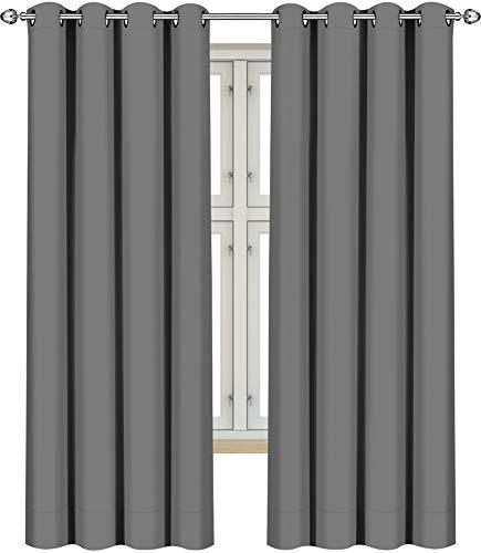 Utopia Bedding Vorhang - 2 Stück - Verdunkelungsvorhang, wärmeisolierende Fenstervorhänge / -verkleidung (Grau, 183 x 117 cm)