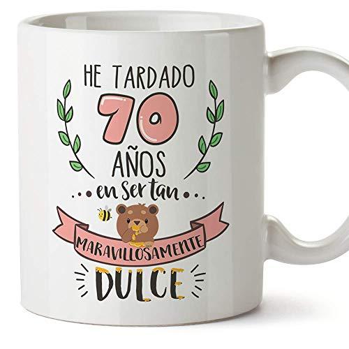 MUGFFINS Taza 70 Cumpleaños -Regalos Originales y Divertidos para Aniversarios y Cumpleañeros