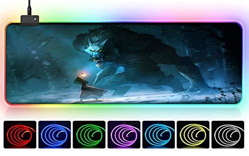 LED-Maus Scary Dark Death Skull Kreative Alternative Bloody Mouse Pad-Spiel PC cool riesigen Büroteppich Junge Mädchen Geschenk Sport Präzision