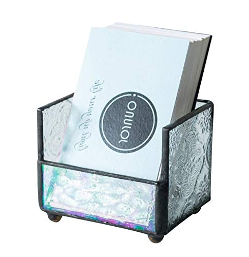 Stained Glass Business Card Holder Name Card Display Holder Mosaic Beveled Glass Professional Card Holder for Office Desk Business Desk Name Plate with Card Holder