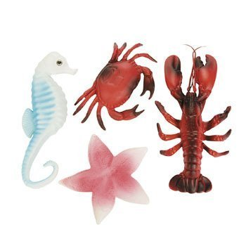 Sea Life Creatures Luau Party Plastic Decor (Pack of 4) Lobster, Seahorse, Crab & Starfish