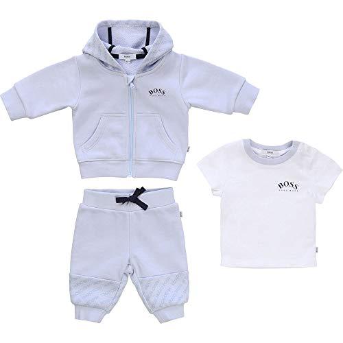 BOSS 3 Teile Geschenkset Jogginganzug + T-Shirt in Einer edlen Geschenkbox J98277 himmelblau (9 Monate (74))