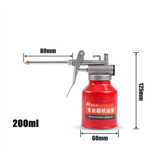 MOC Aceitera de plástico de mano, bomba de aceite, herramienta para latas, boquilla recta y flexible (200 ml, metal 80 mm)