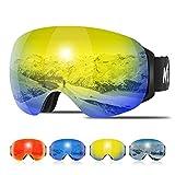 KUYOU Ski Goggles Men Women, Large Spherical Frameless Snow Goggles Interchangeable Lens OTG Double...