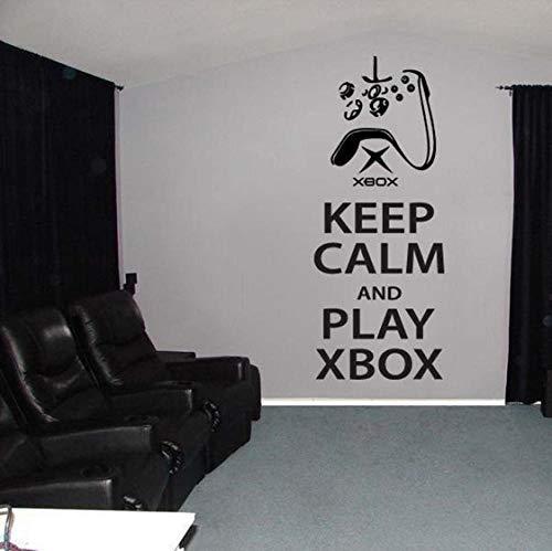 wbqhai Gamer Game Zone Decor Calcomanías de Pared Mantenga la Calma y juegue Xbox One Etiqueta de la Pared Calcomanía Cita Dormitorio...