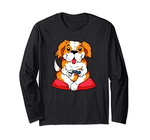 Cute Dog Video Game Player Puppy Gaming Videogame Gift Manga Larga