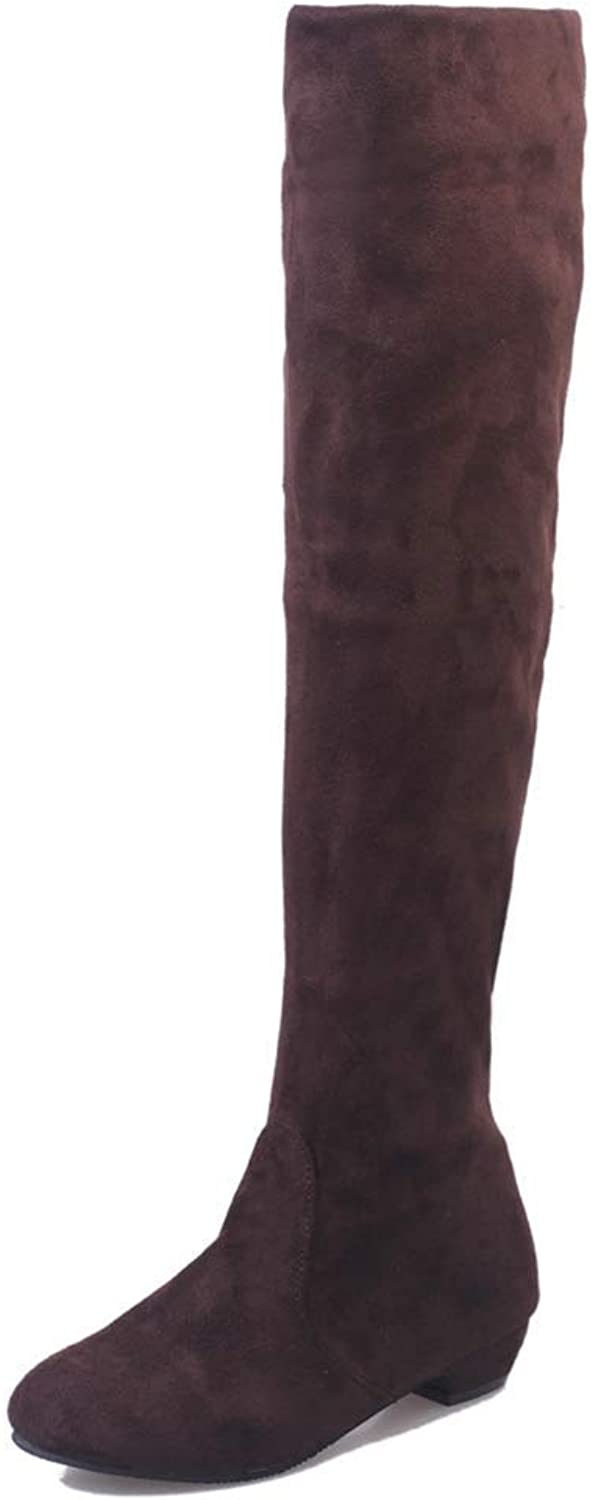Webb Perkin Women Winter Autumn Low Heel Flat Boot High Leg Suede Sexy Femasle Long shoes Lady Over The Knee Boots