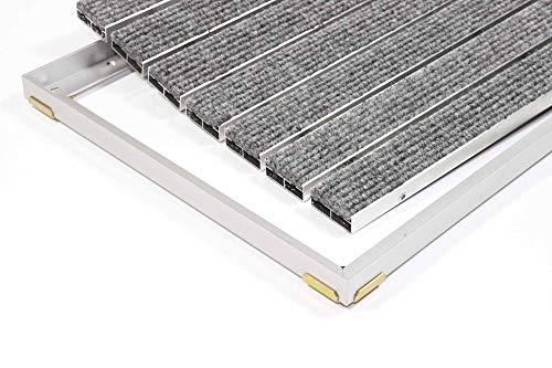 EMCO Eingangsmatte SENATOR Rips 22mm hellgrau + ALU Rahmen Fußmatte Türmatte Schuhabstreifer, Größe:1000 x 500 mm
