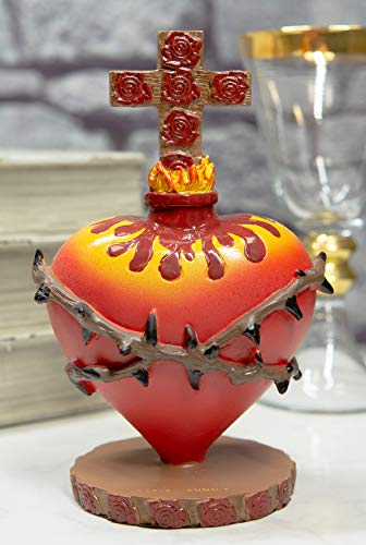 Ebros Day of The Dead Sacred Heart of Jesus with Crown of Thorns Rose of Sharon and Flame Crucifix Cross Figurine God's Compassion for Humanity Religious Latin Mexican Catholic Decor Statue
