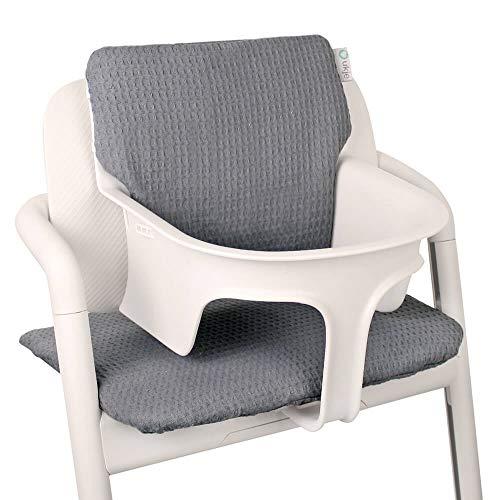 Baby zitverkleiner voor Cybex Lemo kinderstoel van UKJE grijs wafelpiqué, praktisch en dik gevoerd, machinewasbaar 2-delig Öko-Tex katoen