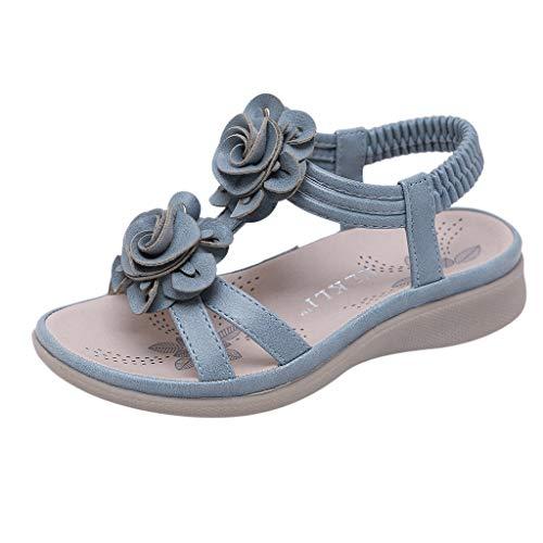 TUDUZ Mädchen Knöchelriemchen Sandalen, Blumen Strand Hausschuhe, Sommer Prinzessin Flach Schuhe, Kinder Offene Sandalen mit Keilabsatz(Blau,31 EU)