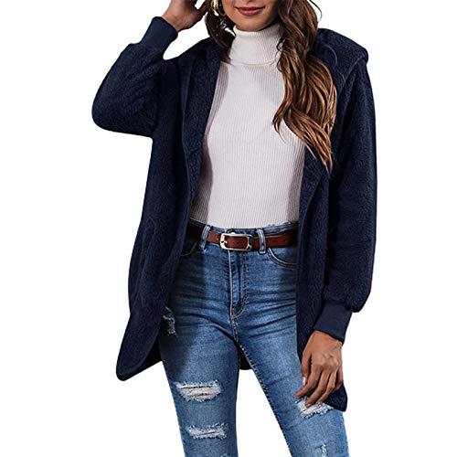dljztrade Abrigo de invierno para mujer, de manga larga, reversible, de doble cara, con bolsillos para otoño, invierno, chaqueta azul marino, talla M
