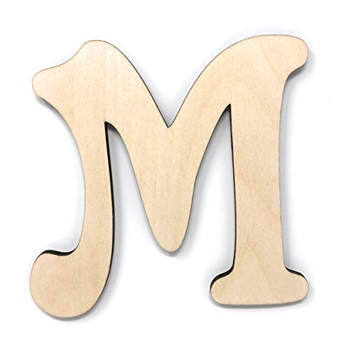 Gocutouts 12' Wooden Letter M Unfinished 1/4' Wooden Letters Paint Ready Unfinished Wall Decor Craft Cutout (12' - 1/4' Thick, M)