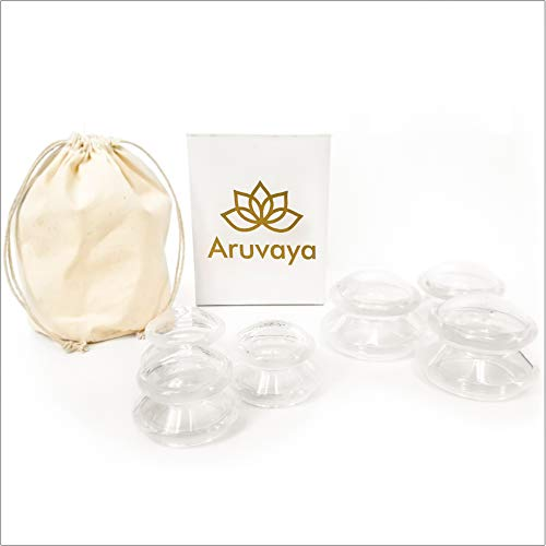 ARUVAYA® [Pack of 6] – Premium Silicone Cupping Set for Vacuum Massage. Medical suction cups/cupping glasses/cups, optimal against cellulite and tension, and for cupping in general