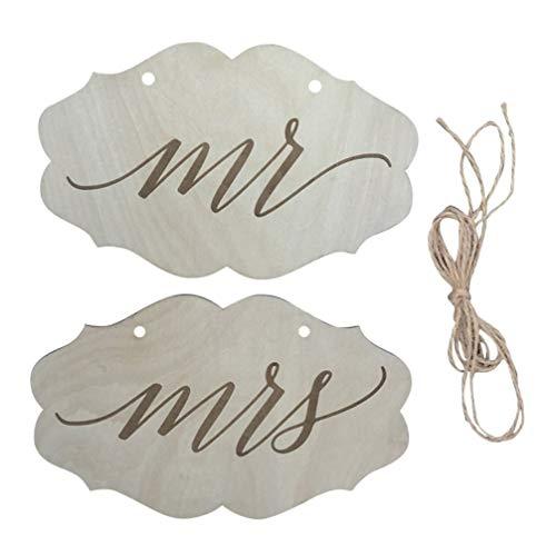 Amosfun 1 Paire Mr Mrs Plaque Chaise de Mariage Dos Signe Tags Décoratif Gravé Mr Mrs Plaque avec Ficelle pour Noce