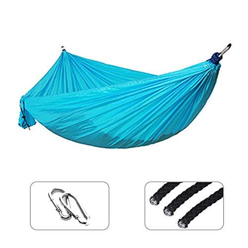 Hängematte im Freien Einzelne Doppel Hängematte Nylon Hängendes Bett Durable Ultraleichte Schlafbett Swing Outdoor Camping Reise 2 Personen mit Tragetasche für Patio Yard Garden (Color : Sky Blue)
