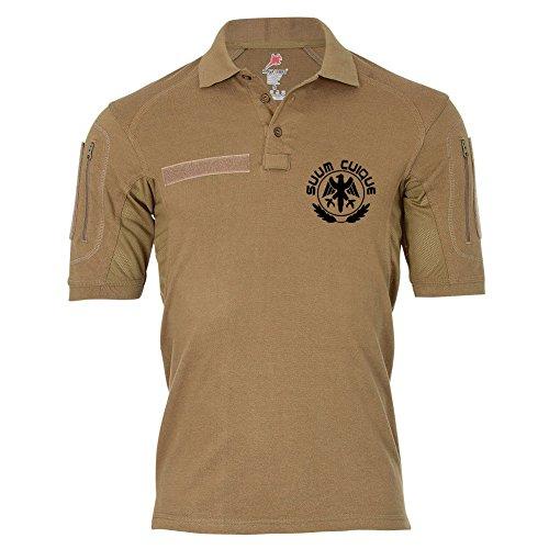 Tactical Poloshirt Alfa - SUUM CUIQUE Adler Wappen Feldjäger MP Preußen #19066, Farbe:Khaki, Größe:Herren 3XL