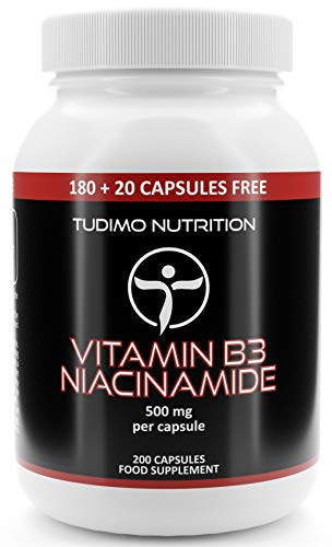 Vitamin B3 500 mg Flush Free Nicotinamide Capsules - 200 pcs (6+ Month Supply) of Rapidly Disintegrating Capsules, Each with 500mg of Premium Quality Niacinamide Powder, by TUDIMO
