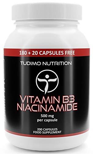 Vitamin B3 500 mg Flush Free Nicotinsäureamid - 200 Stück (6+ Monatsvorrat) an Schnell Auflösende Kapseln, mit je 500mg an Hochwertigem Niacinamide-Pulver, von TUDIMO