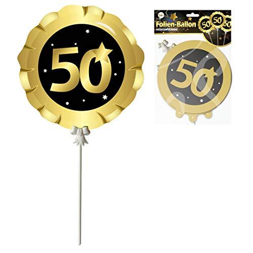 Udo Schmidt GmbH & Co Luftballons 50.Geburtstag schwarz-Gold selbstaufblasend Party Dekoration Geburtstags Deko Ballons 3-teilig