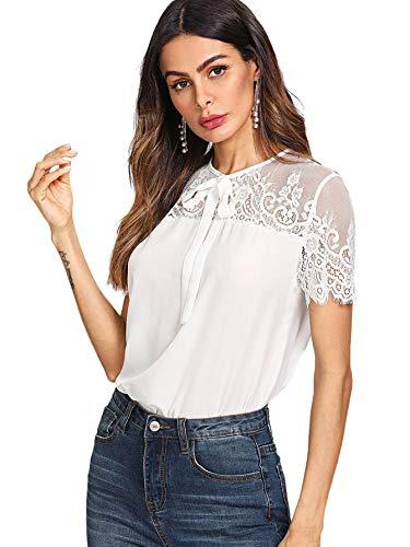 DIDK Damen T-Shirt Bluse mit Spitzen Knoten Schleife vorne Oberteil Tops Weiß XS