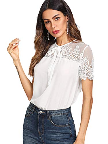 DIDK Damen T-Shirt Bluse mit Spitzen Knoten Schleife vorne Oberteil Tops Weiß M