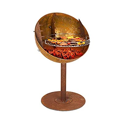 blumfeldt Ignis - Fire Bowl & Grill, 4-Level Height-Adjustable Grill Grate, Used Look: Artificial Rust Look, Fire Bowl: Ø 62 cm, Grill Grate: Ø 50 cm, Dimensions: 62 x 95 cm (ØxH), Colour: Brown by Blumfeldt