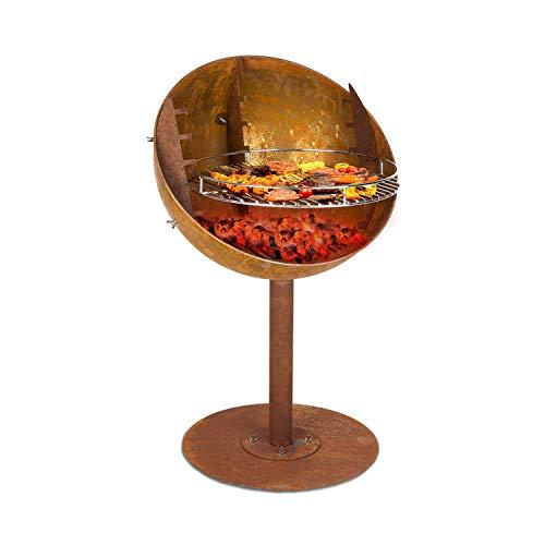 blumfeldt Ignis Feuerschale & Grill, 4-stufiger höhenverstellbarer Grillrost, Used-Look: künstliche Rost-Optik, Feuerschale: Ø 62 cm, Grillrost: Ø 50 cm, Maße: 62 x 95 cm (ØxH), braun