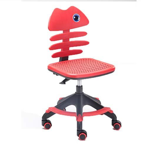 HYRL Kids Fish Bone Chair, Plastic Children es Posture Chair Swivel Adjustable und Soft Study Chair Computer Chair Ergonomic Adjustable Seat,red