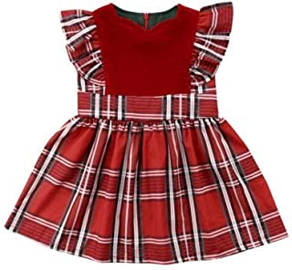 Baby Girl Clothes, Cute 0-3 Months Baby Girl Clothes, Plaid Baby Clothes Girl for Wear on The Body Gift Photograph Home Outdoor (Color : Red, Kid Size : 12M)