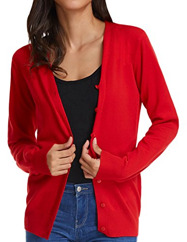 Womens Classic Long Sleeve Knit Cardigan Open Front Basic Tops (XL,Red)